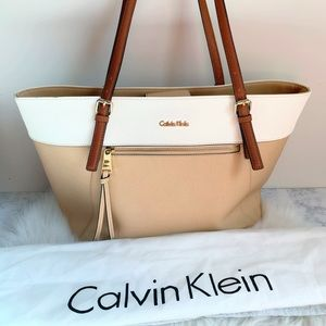 Calvin Klein Two-Tone Nude and Ivory Tote and Bag